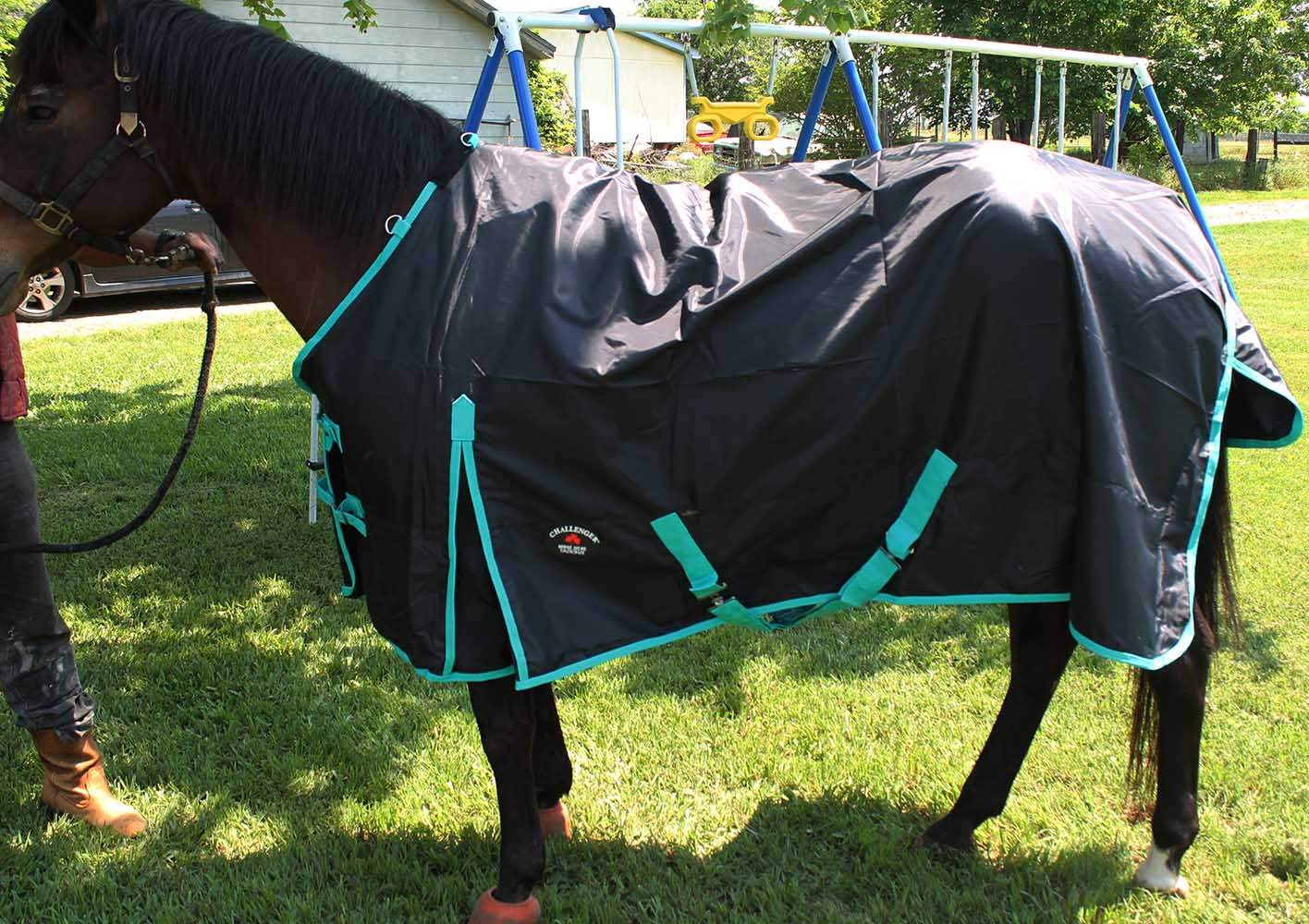 420D Turnout Water Resistant Winter Horse SHEET Light Blanket Black 7105