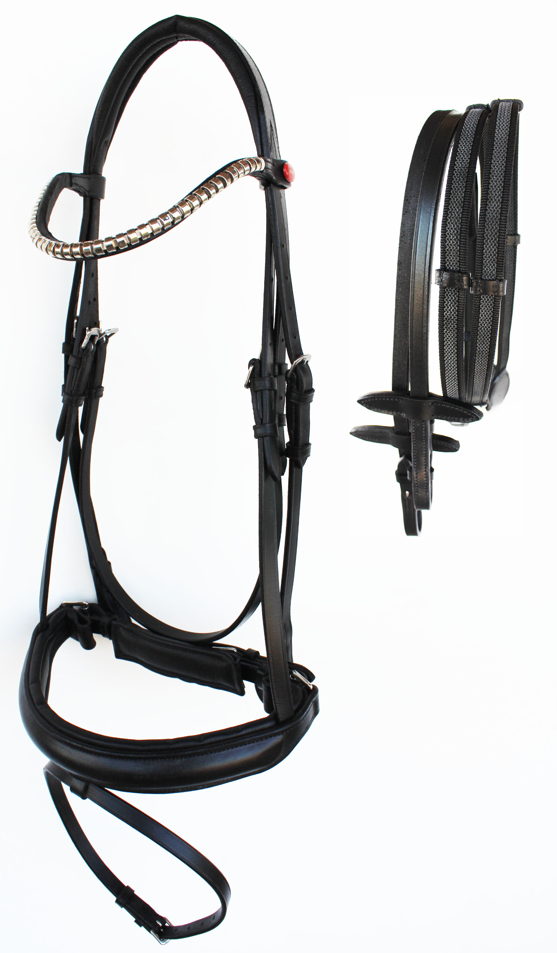 English Horse All Purpose Padded Leather Flash Bridle Reins Brass 803479