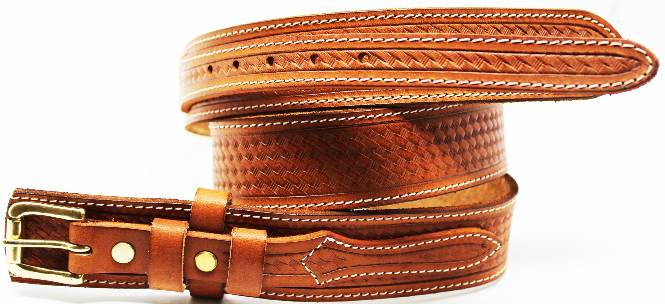 "Mens Western 1-1//2/"" Wide Basket Weave Tooled Leather Ranger Belt Holster 12RAA90"