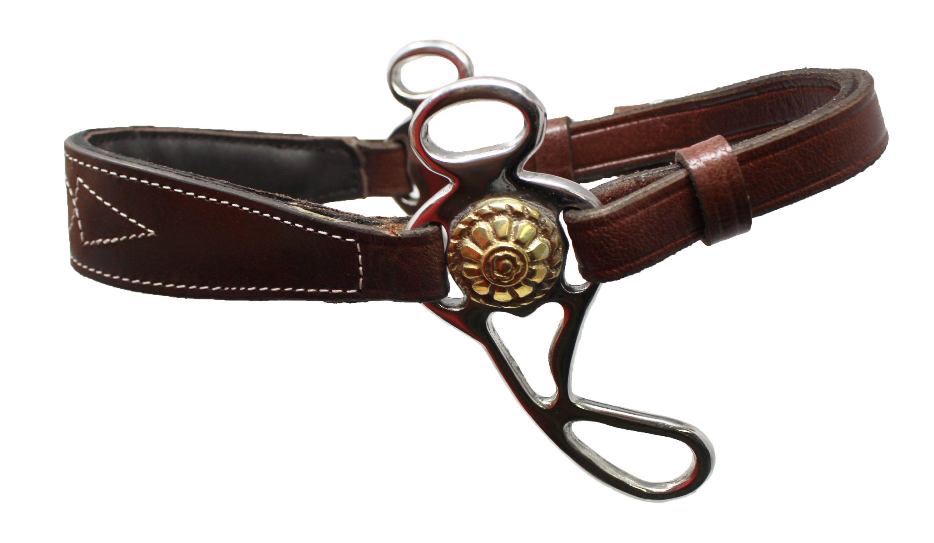 BROWN Hackamore Bitless Horse Bit English Western Adjustable Leather