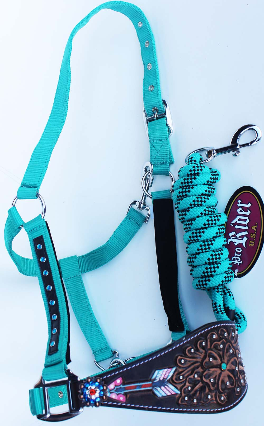 Horse Noseband Tack Bronc Leather HALTER Tiedown Lead Rope Turquoise 280M80236