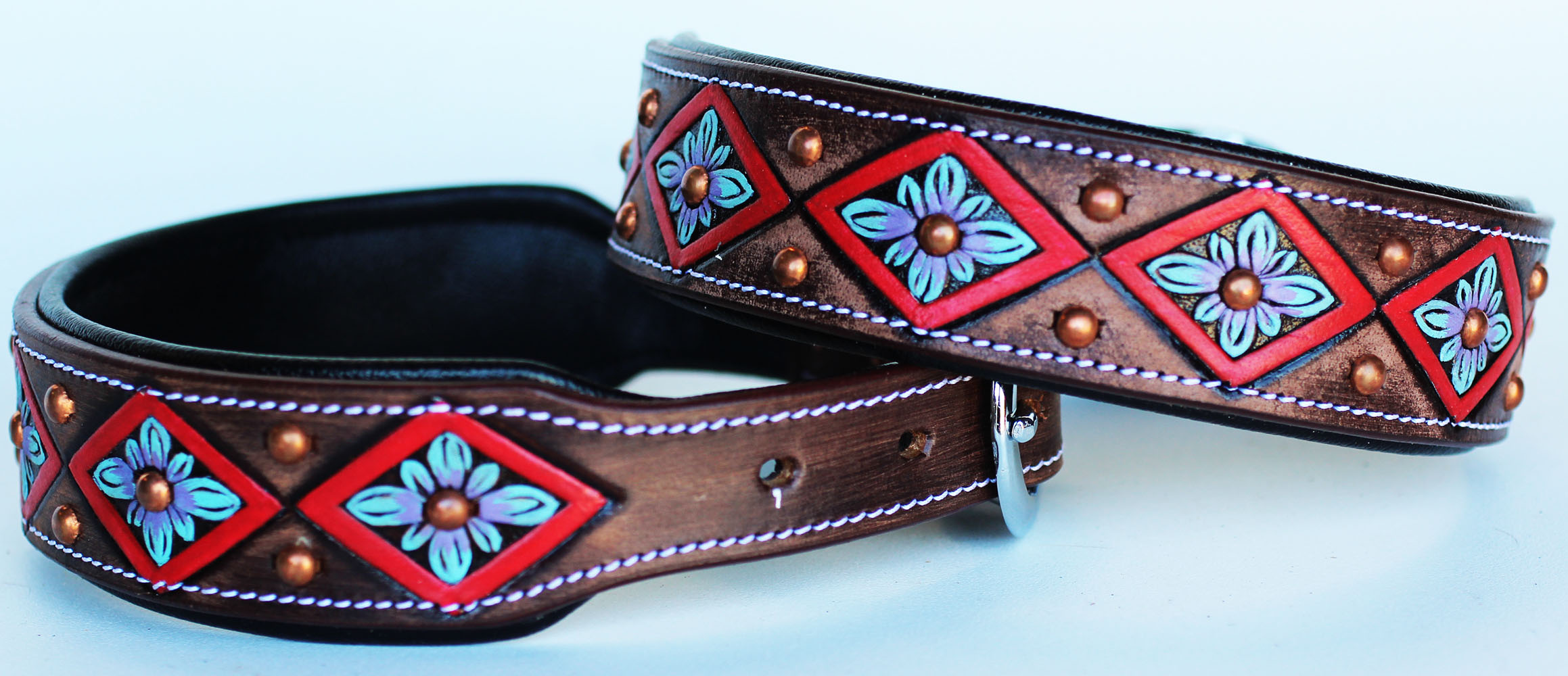 Rhinestone Dog Puppy Collar Crystal Western Cow Leather  6027