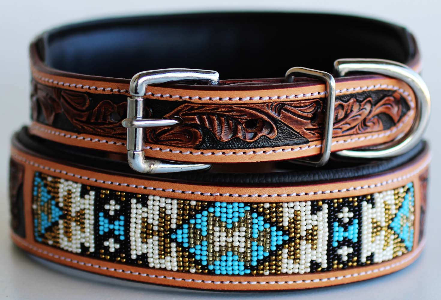 Dog-Puppy-Collar-Cow-Leather-Adjustable-Padded-Canine-6063