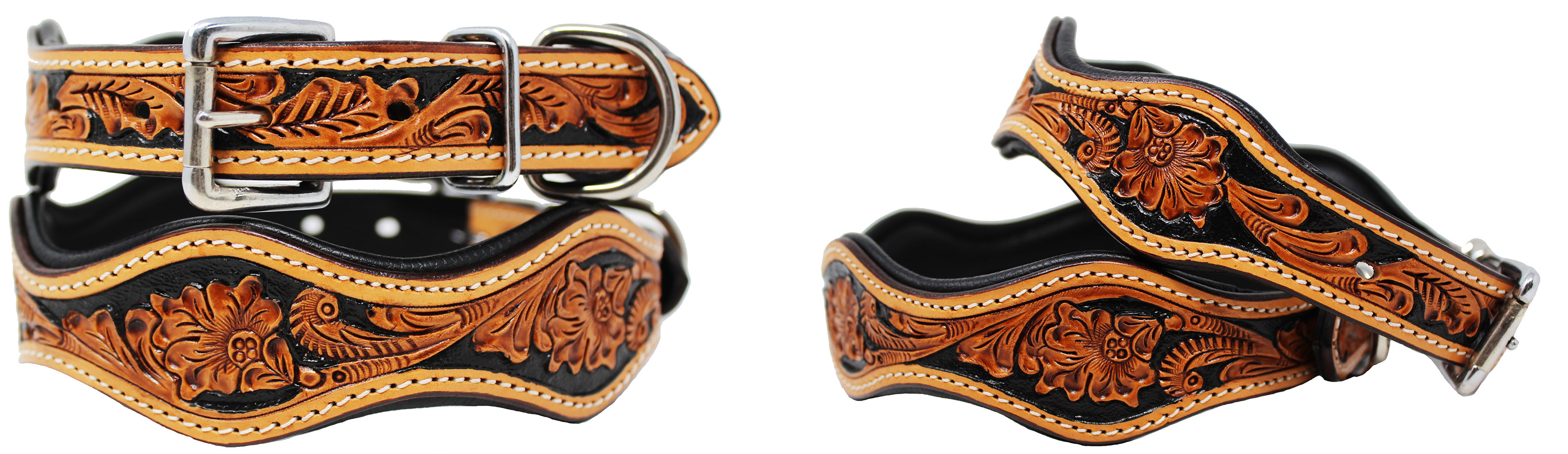 Dog-Puppy-Collar-Genuine-Cow-Leather-Padded-Canine-6080