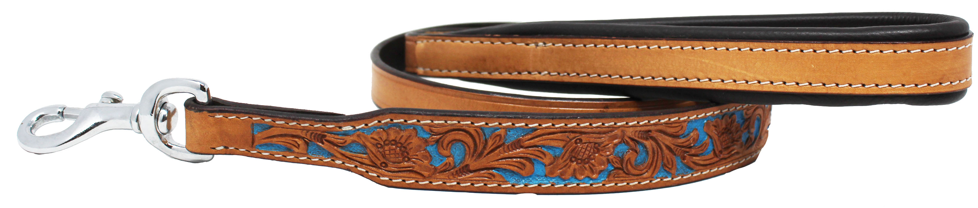 Floral-Tooled-Leather-Dog-Collar-Leash-Padded-Handle-600104