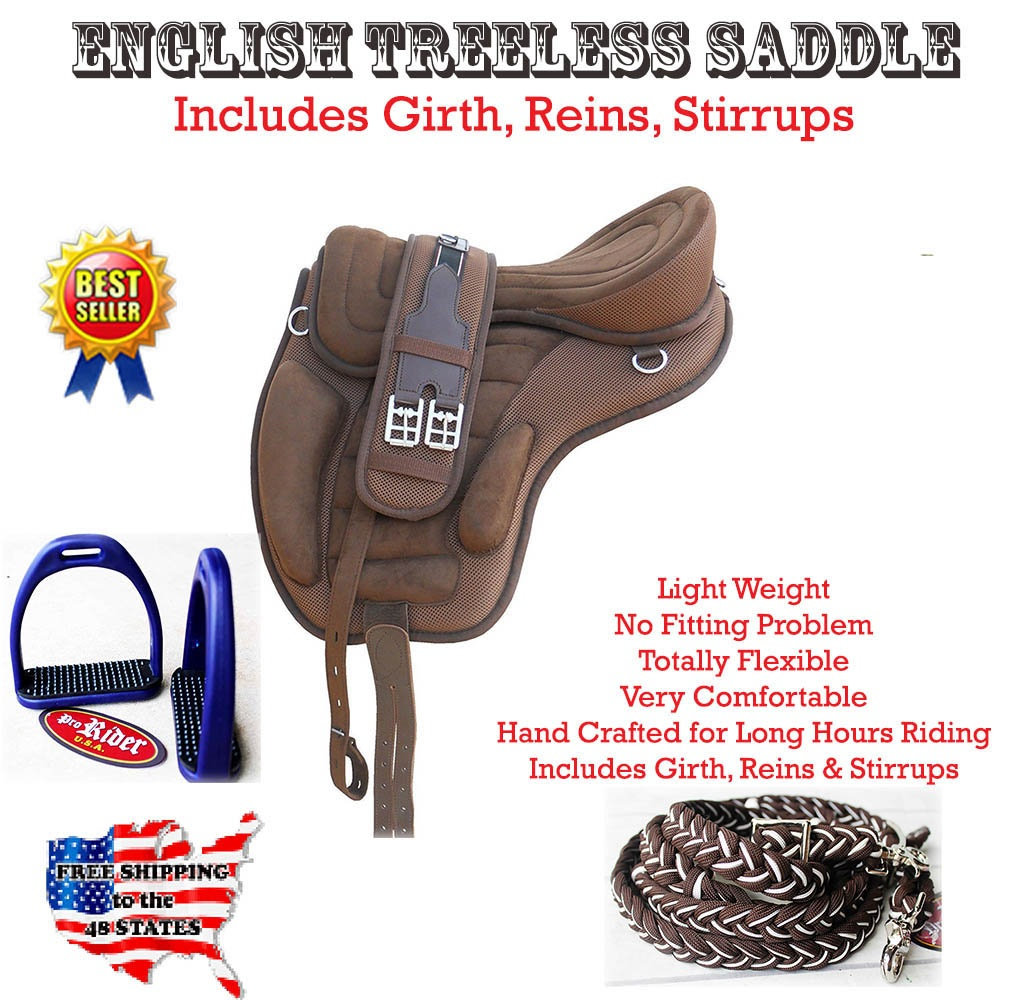 17  English Horse Professional Polo Synthetic Treeless Saddle Stirrups 80201BR