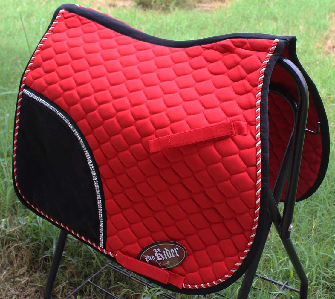 Horse quilted english saddle pad tack trail riding red