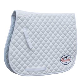 Horse-Quilted-ENGLISH-SADDLE-PAD-Tack-Trail-Riding-White-72P02