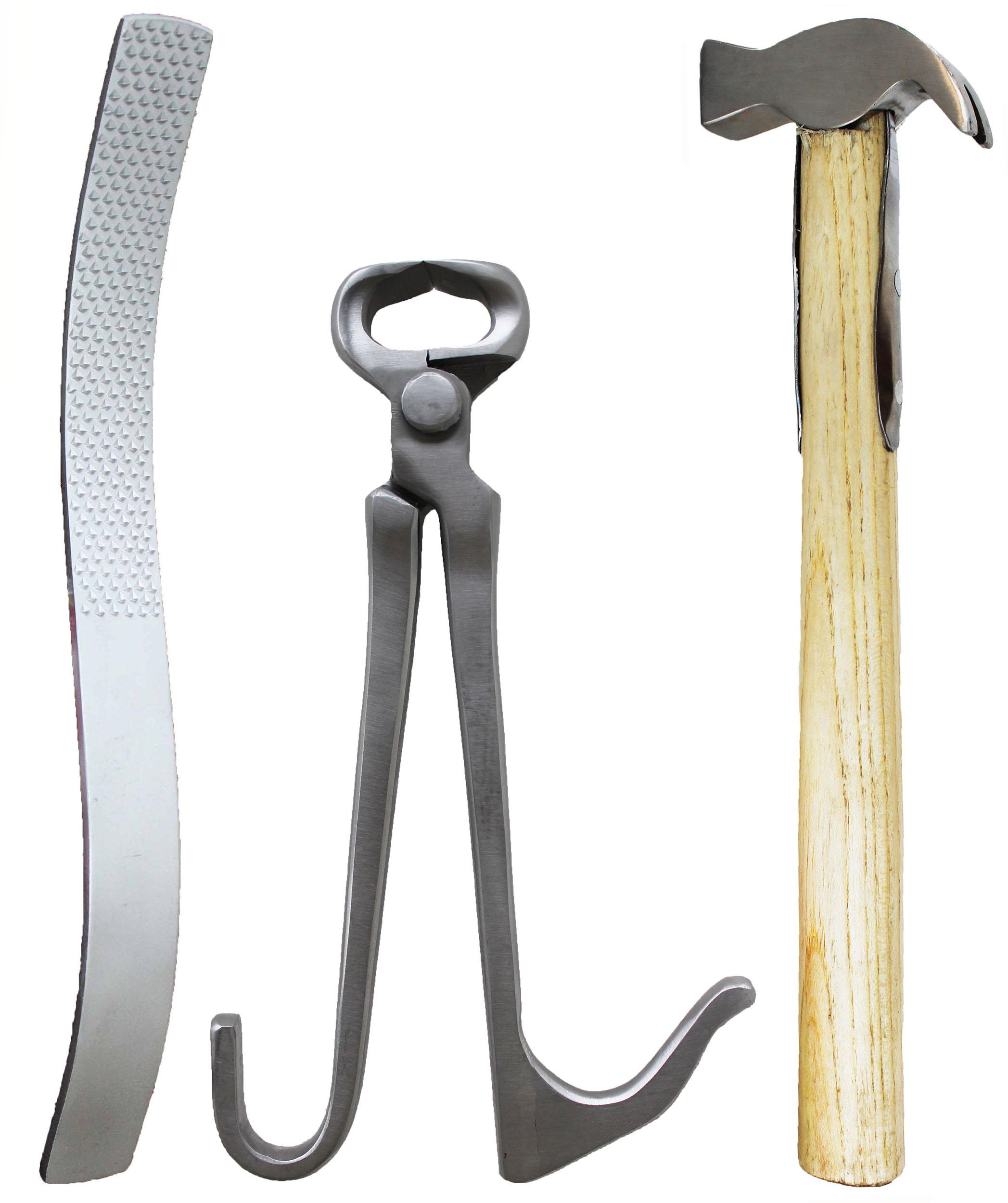 Caballo Herrero herramienta 3 piezas Kit de  cuidado de los cascos con Potro Pinza Martillo Escofina 984K02  Felices compras