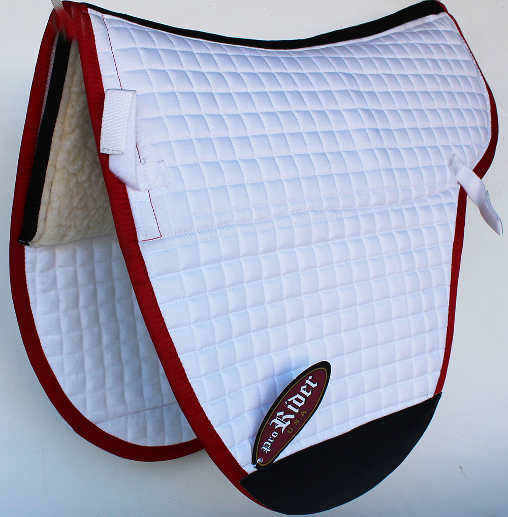 Horse  Quilted English Treeless Gel Fleece Lining Saddle Pad 6403WH4