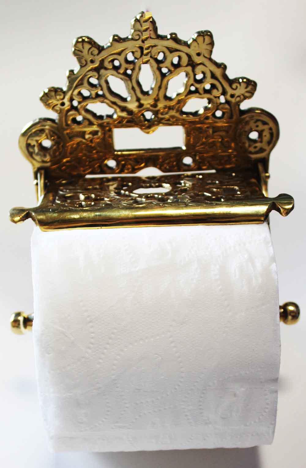Home decor toilet paper holder antique solid brass
