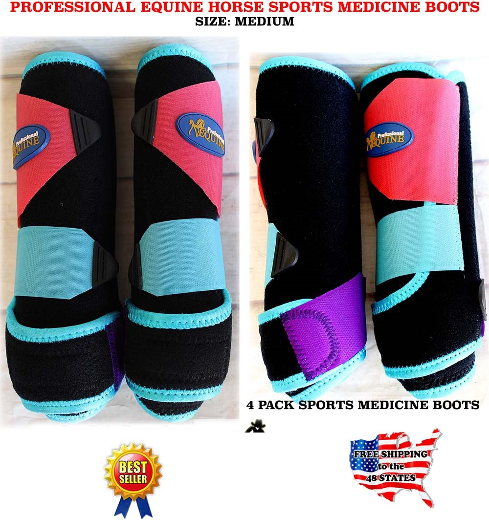 Horse Medium Professional Equine Sports Medicine Splint  Boots Turquoise 4113C  best-selling