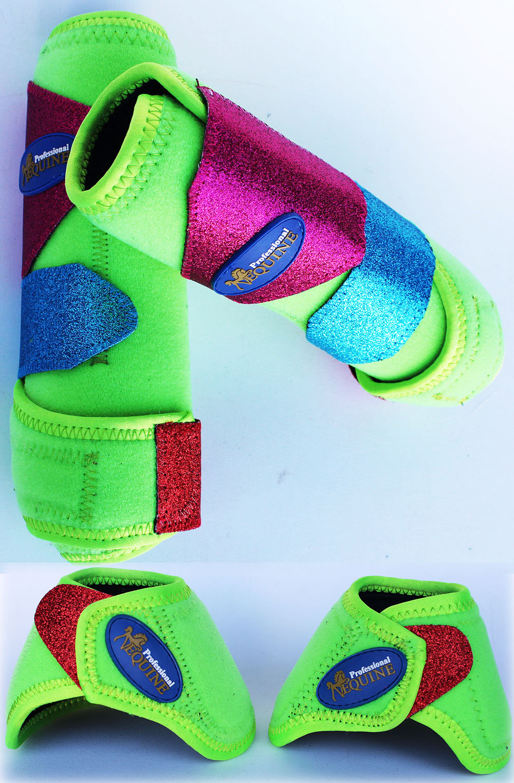 Horse Medium Professional Equine Sports Medicine  Splint Bell Boots Lime 4140B  new branded