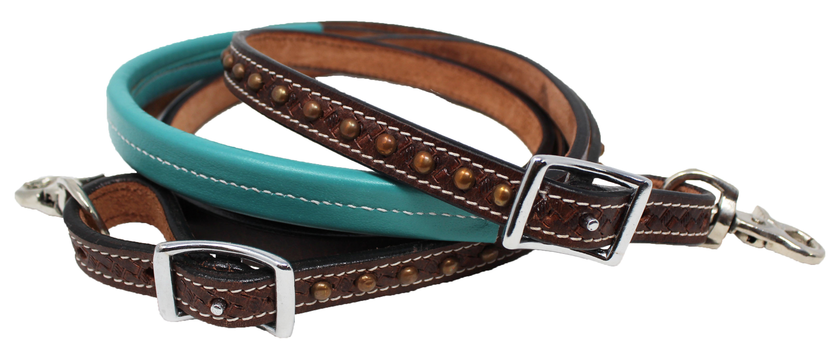 Horse Western 8ft Contest Barrel Rolled Leather Reins Turquoise Brown 6641