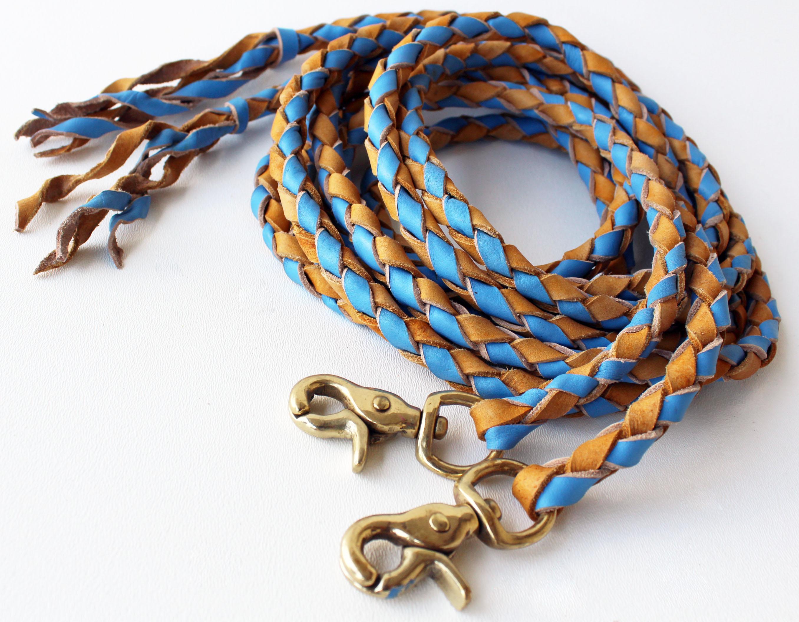 Horse Western Round Braided Leather Roper Split Reins Brass 66Split
