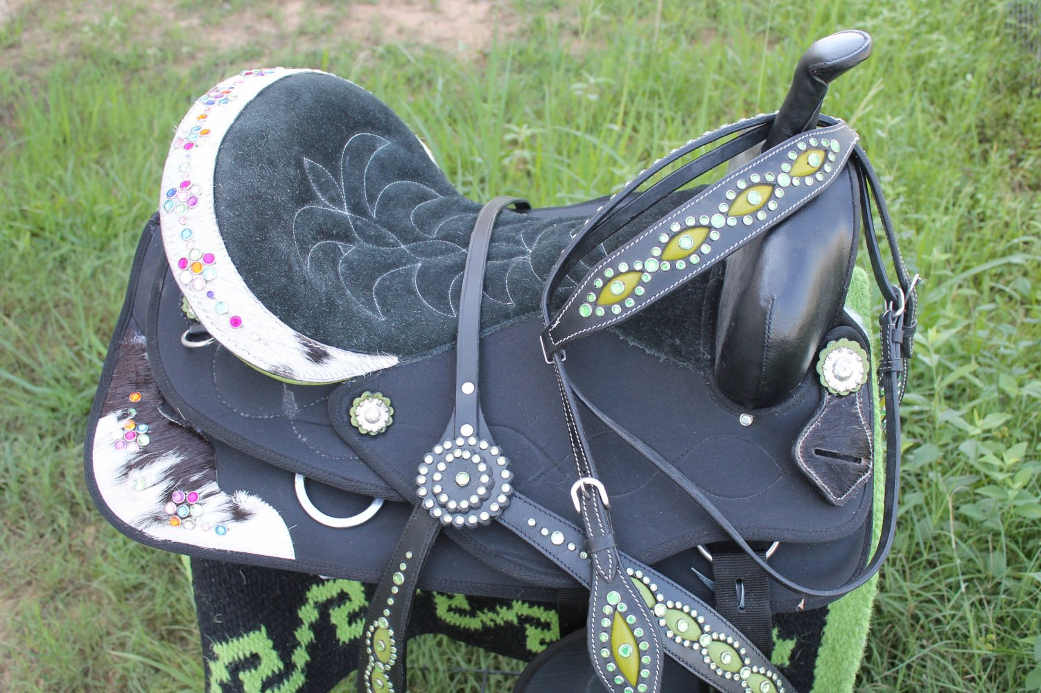 """15"""" Western Cordura Trail Baril Plaisir Cheval Selle Bridle Tack Lime 4977-afficher Le Titre D'origine"""