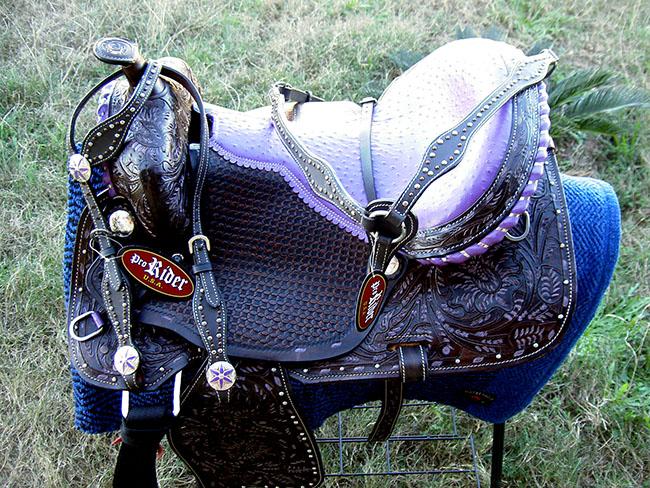 Horse Western Barrel Show Pleasure LEATHER SADDLE Bridle 50176