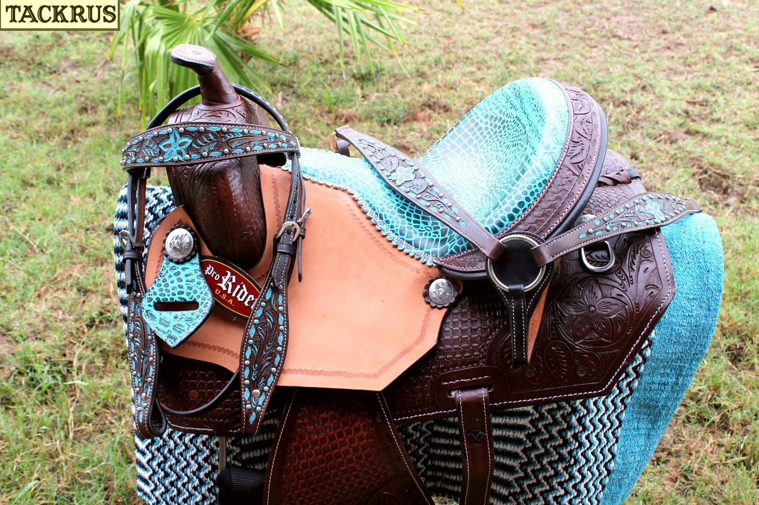 15   Horse Western Barrel Show Pleasure LEATHER SADDLE Bridle Turquoise 50271  support wholesale retail