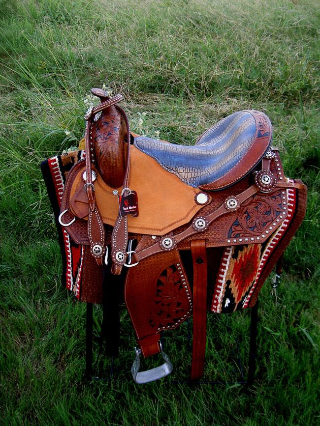 Horse Western Barrel Show  Pleasure LEATHER SADDLE Bridle  5032  popular