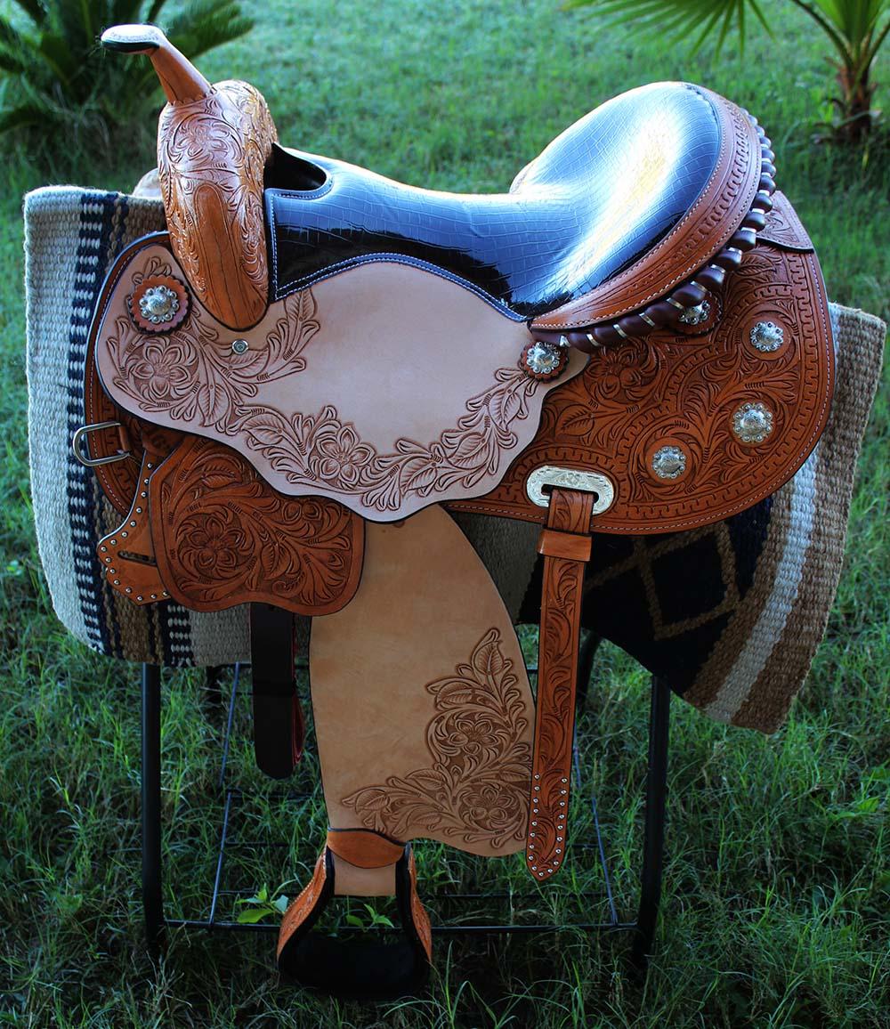 16  Horse Western Barrel Show Pleasure LEATHER SADDLE Bridle  50S00483
