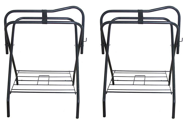 Lote de 2 silla de metal plegable inglés caballo occidental rack Soportes Tachuela Negro 4601