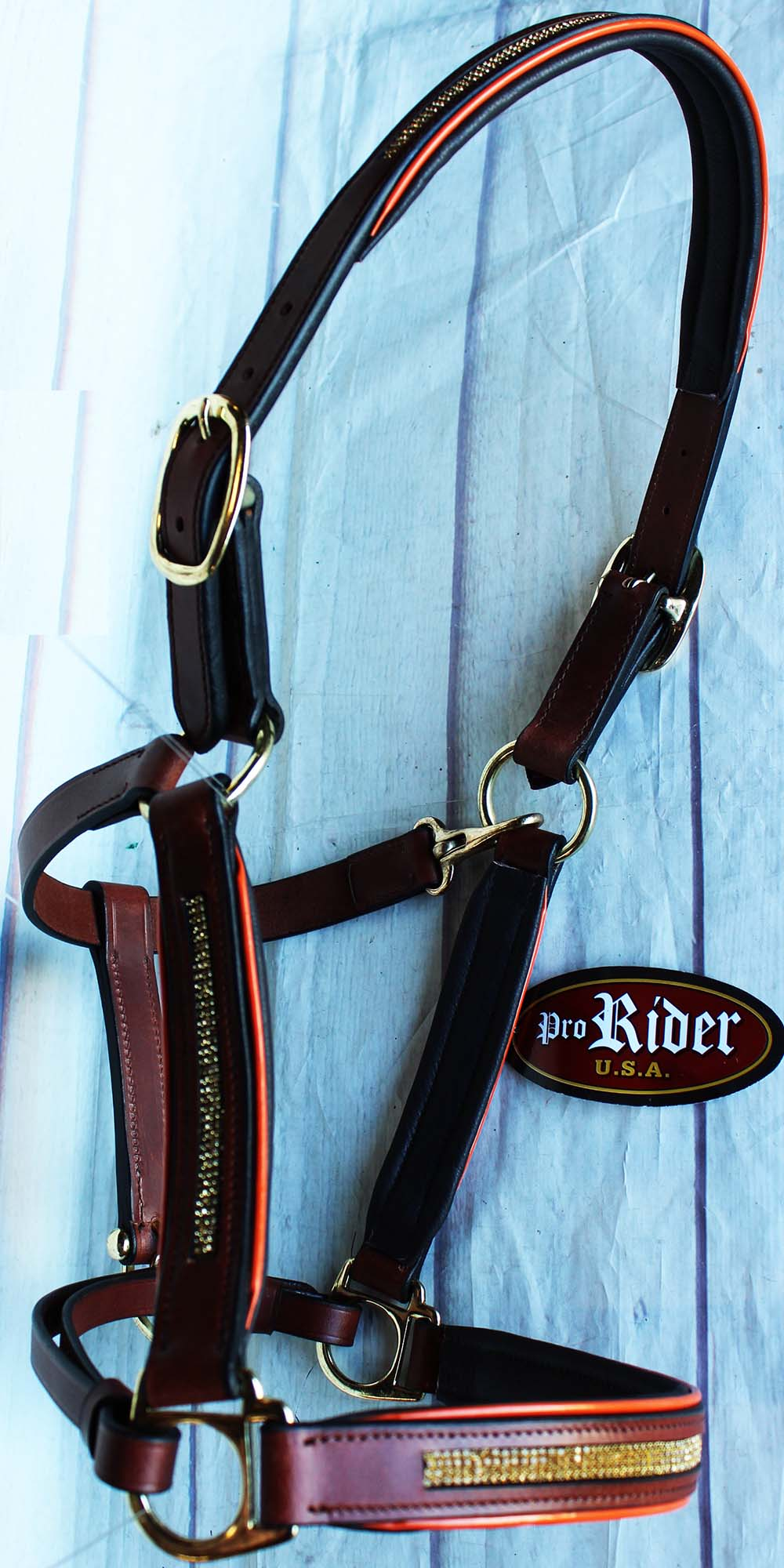 Horse Riding Leather English Brown gold Bling 927MT07