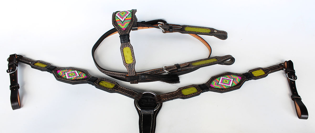 Horse Show Bridle Western Leather  Headstall Breast Collar 7907  fashion