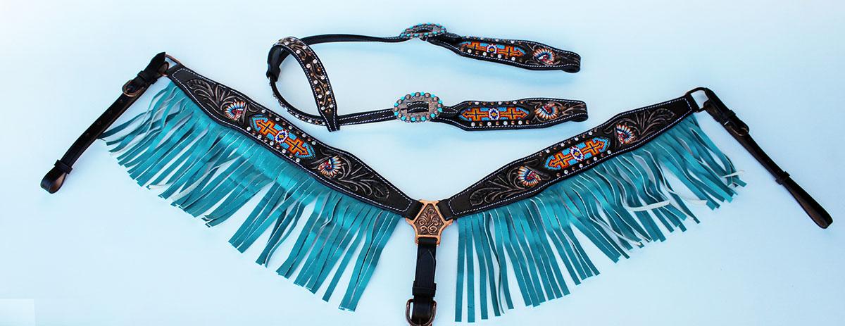Mostrar Brida Occidental de cuero Cabezada De Caballo pecho Collar Turquesa Rodeo 79106A