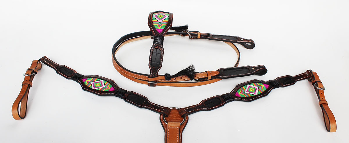 Horse Show Bridle Western Leather Headstall Brustfell 7924B