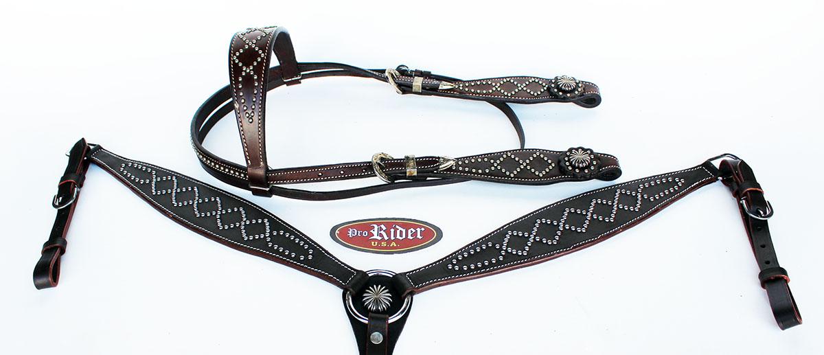 Tachuela del caballo de silla de  montar Cuero Occidental Brida Cabezada breastcollar 78138B  tienda en linea