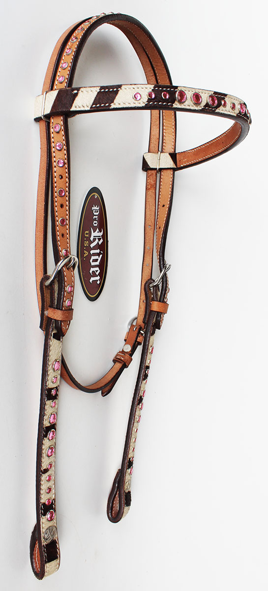 Horse Show Bridle Western Leather Headstall Tack Pink ...