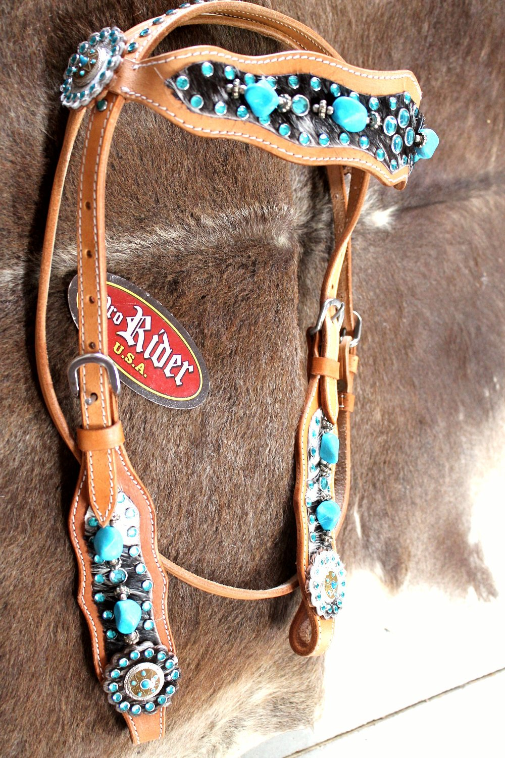Horse Show Tack Bridle Western Leather Headstall Turquoise ...