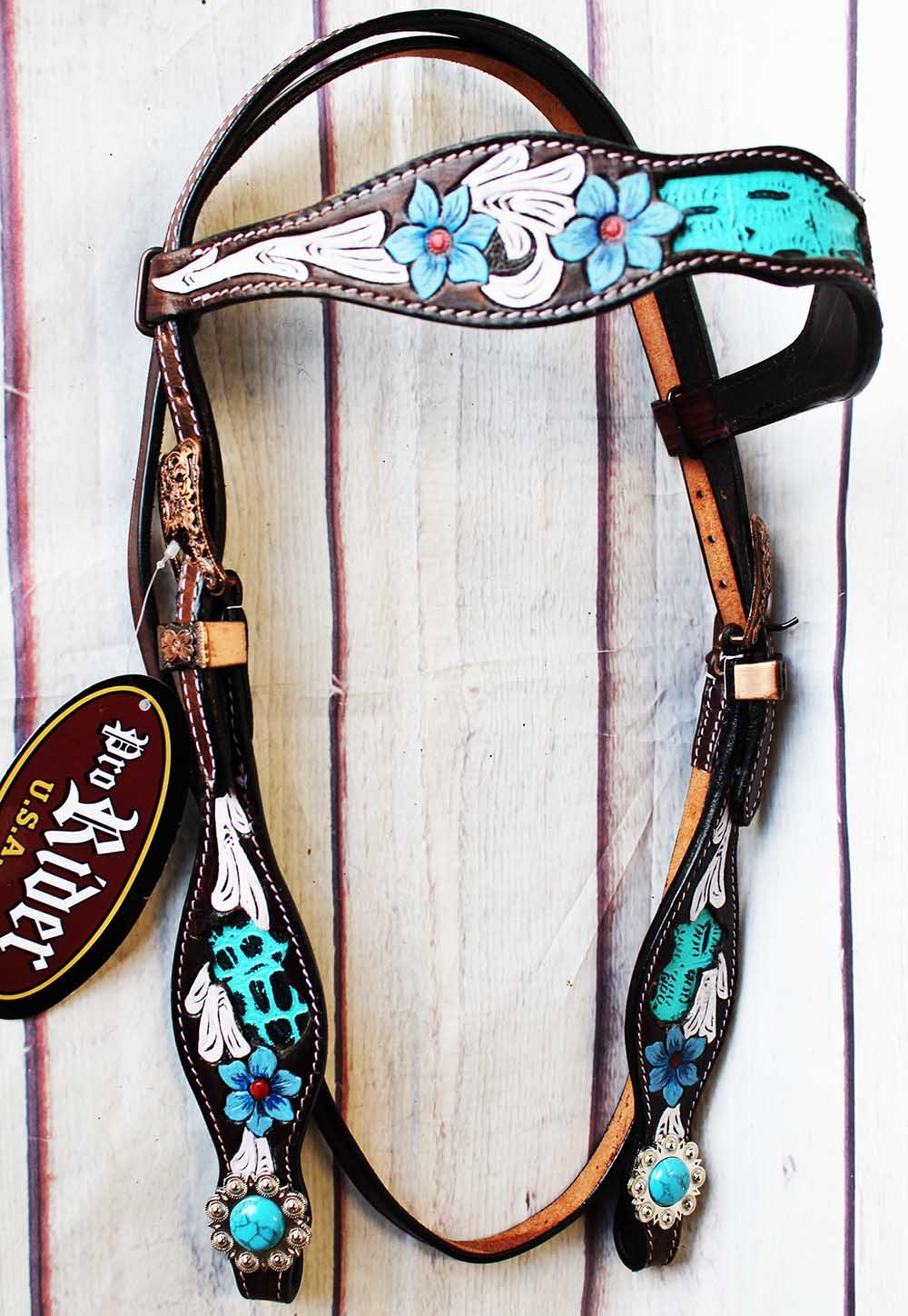 Horse Tack Bridle Western Leather Headstall Turquoise Equine 80193HB