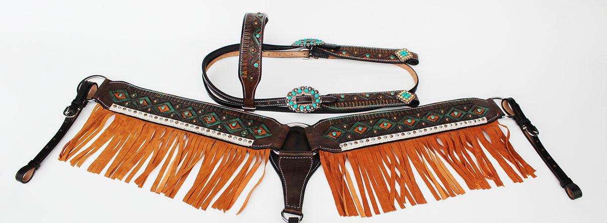 Tachuela del caballo cuero occidental Brida Cabezada pecho Collar Rodeo Naranja 80225B