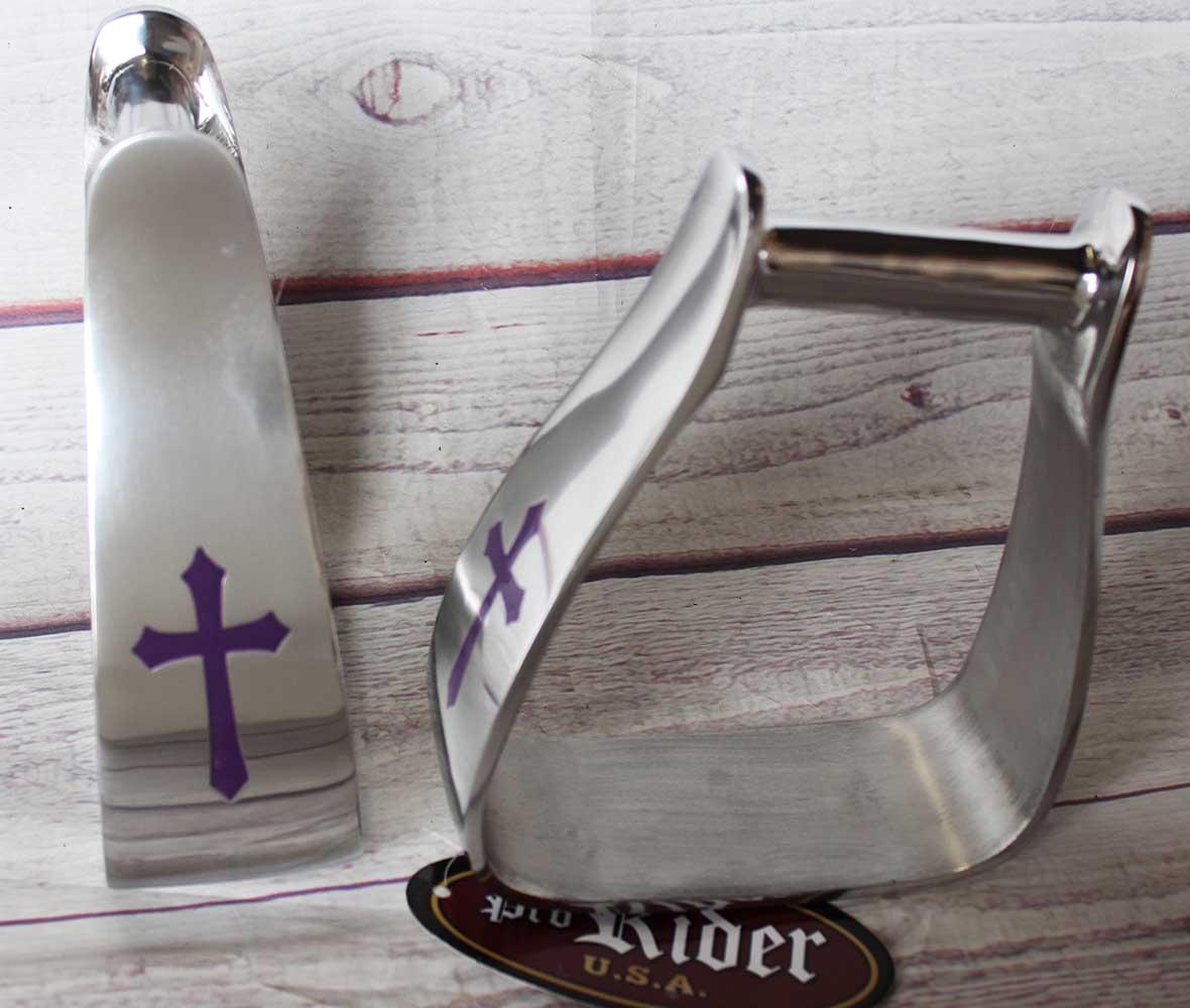 Pferd Sattel lila Cross Winkel Slanted Aluminium Stirroups 51103