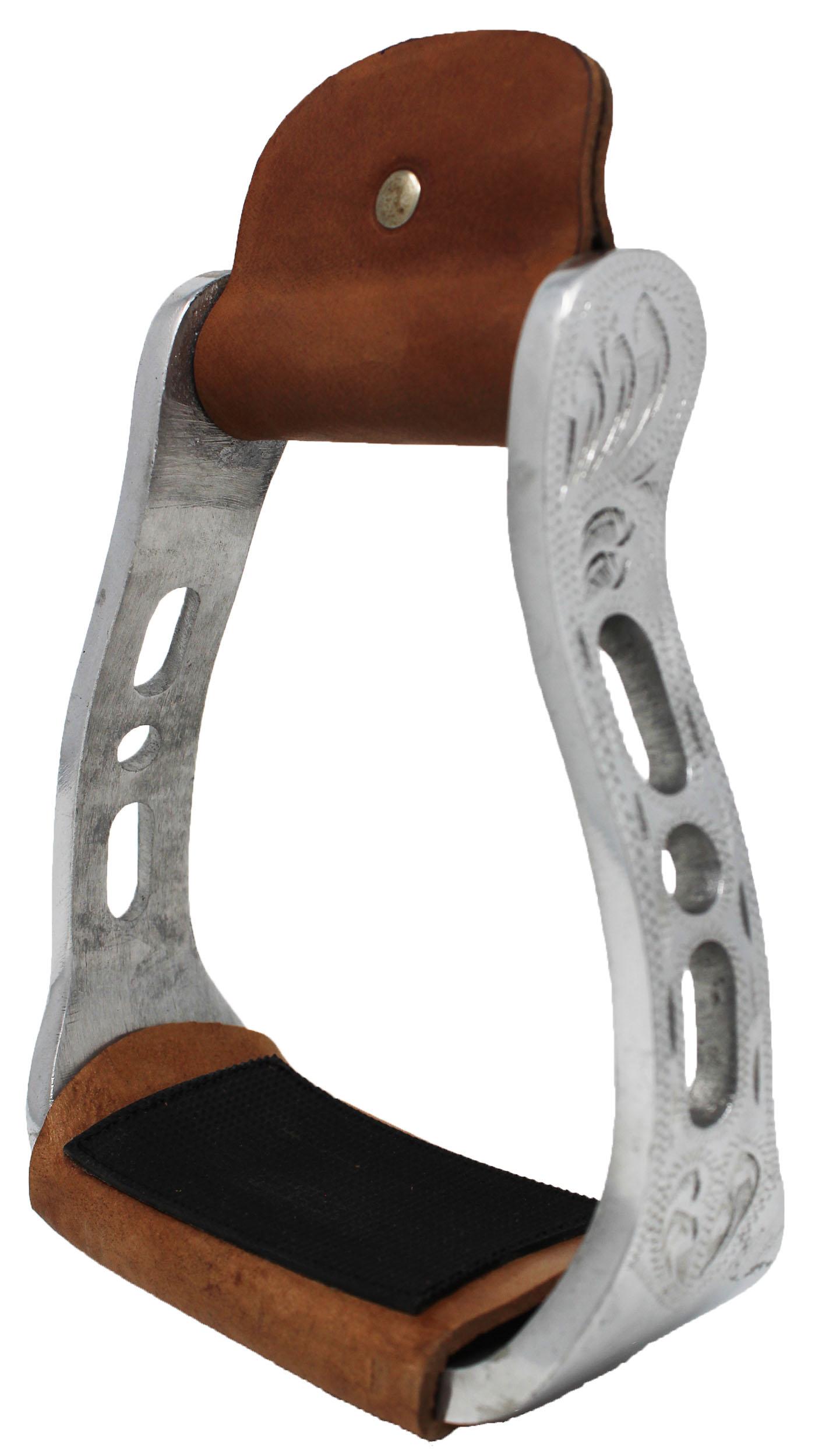 Challenger Tack Horse Saddle Aluminium Western Riding SS Stirrups Leather Tread 51149
