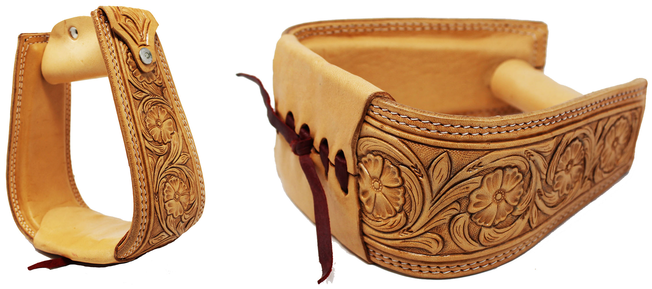 Details about Horse Western Saddle Tack Floral Hand Tooled Leather Covered  Stirrups 51173TN