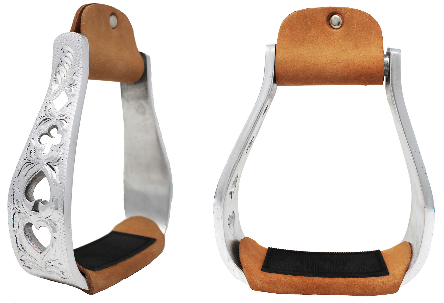 CHALLENGER Horse Western Saddle Engraved Aluminum Stirrups w//Rubber Tread 51180
